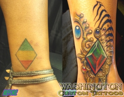 cover up tattoos_rasta diamond jewel coverup