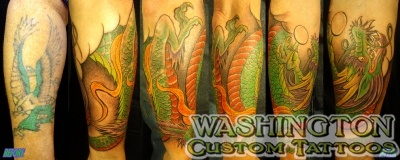 cover up tattoos_traditional eagle dragon coverup